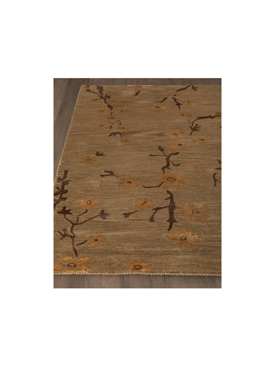 "Horchow - ""Glen Flora"" Rug - An almost tone-on-tone floral pattern punctuated by darker leaves and branches turns this striking rug into art for the floor. Hand tufted of New Zealand wool and viscose. Cotton backing. Sizes are approximate. Imported. See our Rug Guide for t..."
