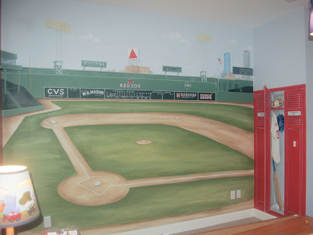 Fenway park mural traditional bedroom boston by for Boston wall mural