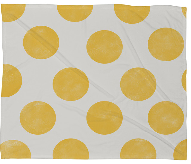 Allyson Johnson Spring Yellow Dots Fleece Throw Blanket contemporary-throws