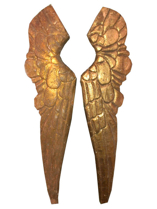 Gilt Angel Wings - Hand carved, and gilt each one is a little different than the other. Sold as a set they are a great decorative item for any home.