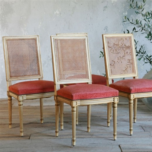 One of a Kind Vintage Dining Chair Louis XVI Warm Cream traditional-dining-chairs