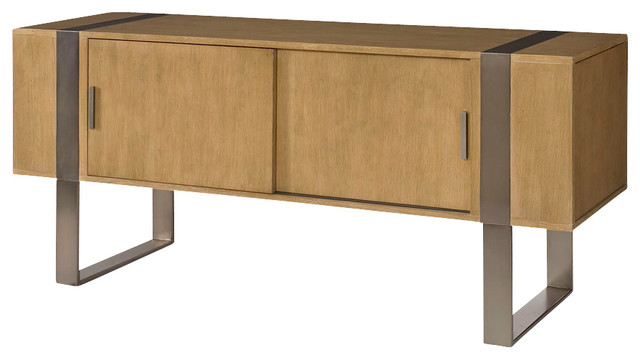Hammary Flatiron Entertainment Console in Sabdy Brown traditional-media-storage