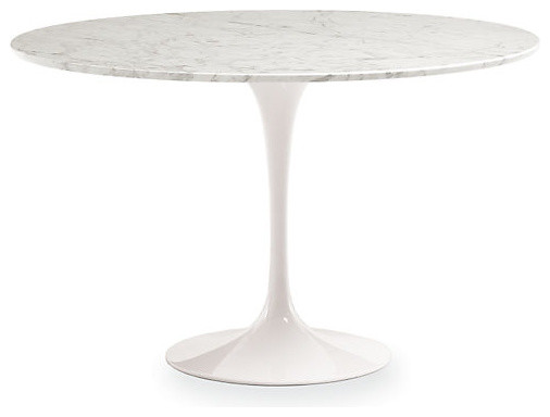 Saarinen 47 Inch Round Dining Table White Marble Modern Dining Tables