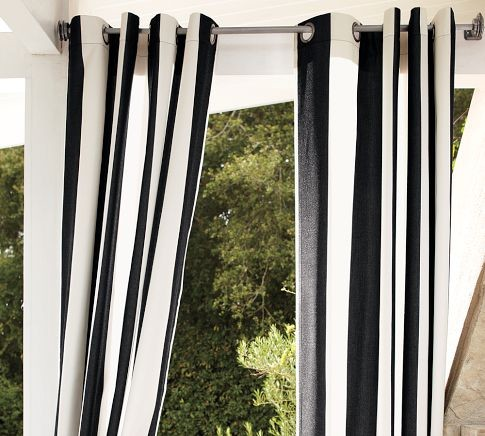 Sunbrella awning stripe outdoor grommet drape black Black and white striped curtains