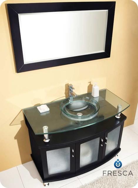 """43.25"""" Contento Single Vanity with Mirror (FVN3317ES) modern"""