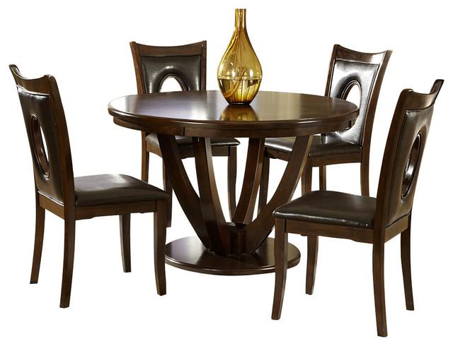 Homelegance vanbure 5 piece round pedestal dining room set for Traditional round dining room sets