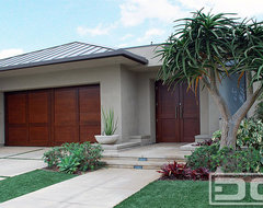 Modern Design Garage Door & Matching Courtyard Entry Gate in Solid Mahogany Wood modern-garage-doors-and-openers