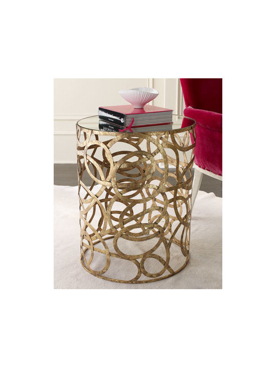 """Scroll Side Table - Iron-framed accent table is adorned with swirling scrolls in Italian gold and has a .25""""-thick mirror inset top. 20""""Dia. x 25""""T."""