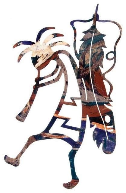 Southwest Kokopelli Flute Dancer Metal Wall Art 18