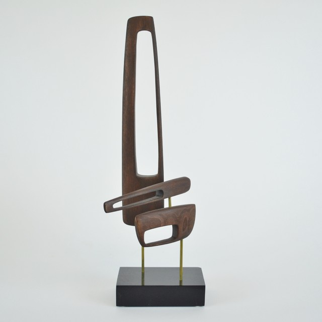 Mid Century Wood Sculpture On Black Wood Base