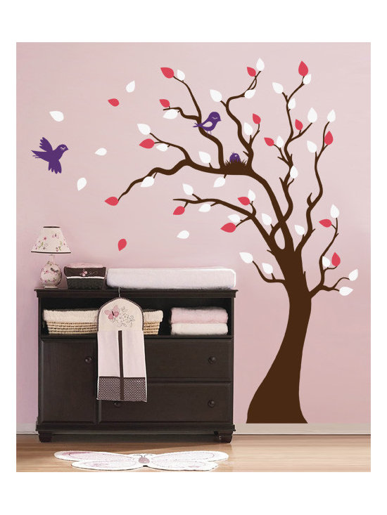 Nesting Tree Decal with Birds and Baby Bird Nest - Original design © 2012 Wall Definition.