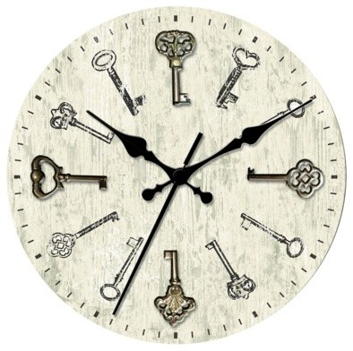 Threshold Wall Clock With Antique Keys Eclectic Wall