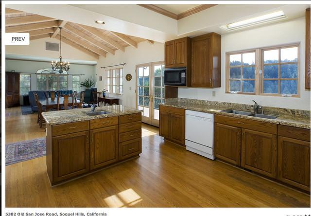 Open floor plan kitchen dining living traditional for Open kitchen dining room floor plans