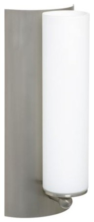 Metro Satin Nickel One-Light ADA Sconce with Opal Matte Glass contemporary-wall-lighting