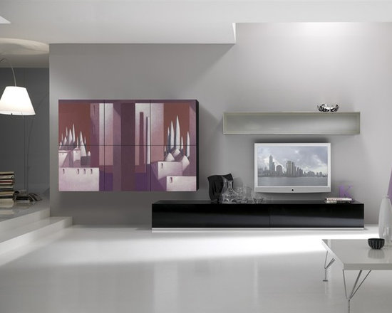 Art Decorated Modern Wall Unit Lombardi 2 - $6,229.00 - Art Decorated Modern Wall Unit Lombardi 2 - signature line by artist Enrico Lombardi. Made in Italy by Gruppo Spar.