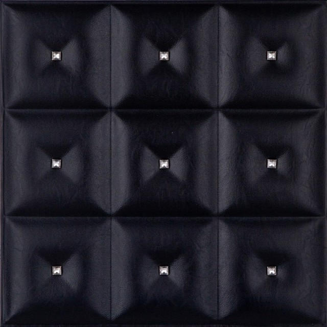 DCT LRT19 Faux Leather Ceiling Tile - Black Diamond with Crystals wallpaper