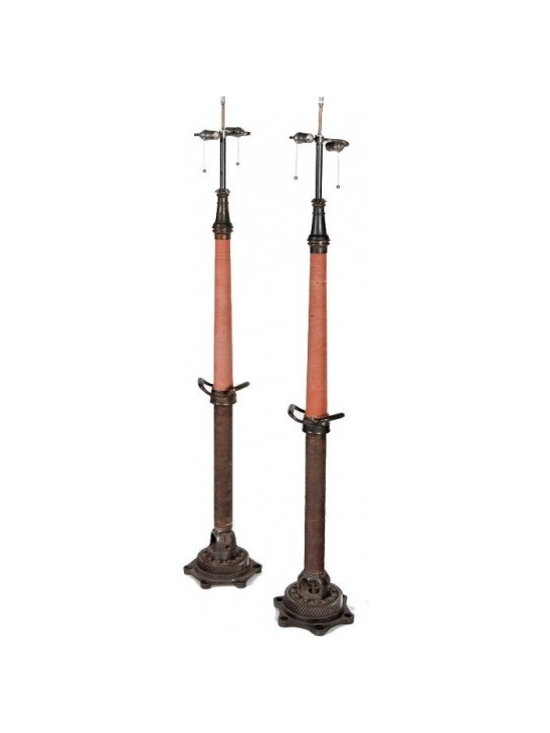 Eco Friendly Furnture and Lighting - United States 20th Century Wonderful vintage fire hose converted into a floor lamp.