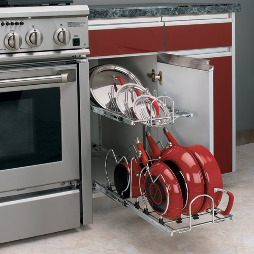 Two-Tier Cookware Organizer contemporary cabinet and drawer organizers