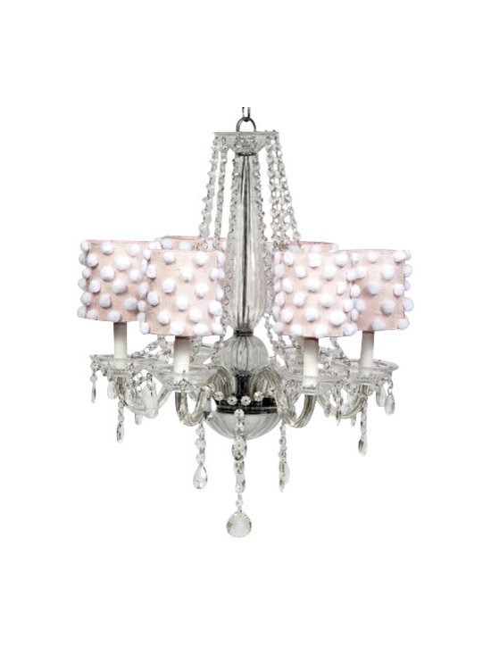 6 Light Middleton Chandelier with Pink Drum Shades and White Pom Poms - Lovely and whimsical, this beautiful crystal chandelier would be a perfect touch to any girl's bedroom or nursery.