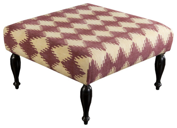 Asher Hand Woven Wool/Wood Turned Base Ottoman contemporary-footstools-and-ottomans
