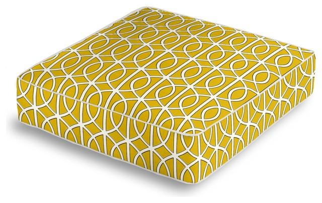 Floor Box Pillows : Yellow Modern Trellis Box Floor Pillow - Contemporary - Floor Pillows And Poufs - by Loom Decor