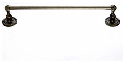 "Edwardian Bath 18"" Single Towel Rod - German Bronze - Rope Back Plate modern-towel-bars"