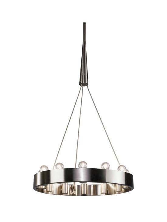 Robert Abbey - Robert Abbey Rico Espinet Candelaria 24 Inch Chandelier, Brushed Nickel - Rico Espinet's Candelaria Collection for Robert Abbey features a 12 light chandelier with edison style bulbs in either a brushed nickel or deep patina bronze finish.