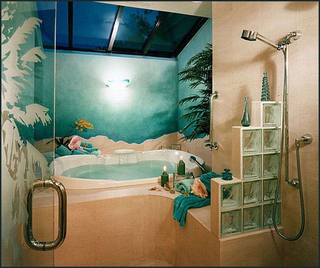 Modern Tropical Master Suite (Shower With Dolphins) tropical bathroom