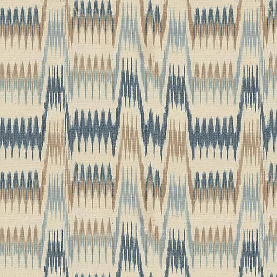 Blue & Tan Flame Stitch Handwoven Fabric eclectic-upholstery-fabric