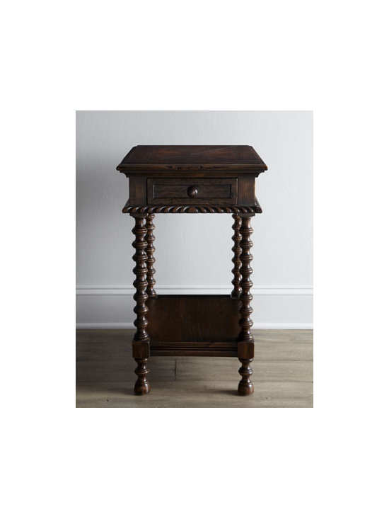 """Ambella - Ambella """"Carmelita"""" Side Table - Mahogany-finished, single-drawer side table with spool legs makes a delightful addition to your decor. Handcrafted of select hardwoods. 17""""W x 23""""D x 28""""T. Imported. Boxed weight, approximately 33 lbs. Please note that this item may require additio..."""
