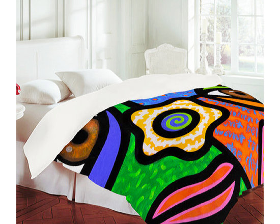 """""""Sweet Escape"""" Duvet Cover - Turn your bed into a work of art! Add some color to a drab bedroom with this vivid reproduction of an original painting by Steven Scott. Made from a unique micro fiber material that has a soft, velvety hand."""