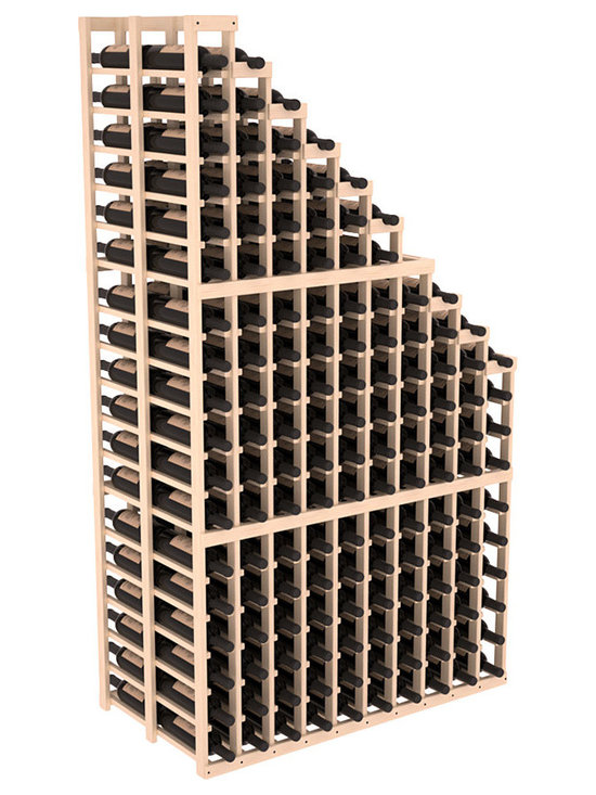 Double Deep Wine Cellar Waterfall Display Kit in Pine with Satin Finish - The same beautiful cascading waterfall but in a double deep capacity. Displays 18 choice vintages in a tiered fashion. Designed within our modular specifications and to Wine Racks America's superior product standards, you'll be satisfied. We guarantee it.