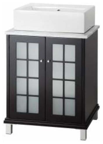 Foremost Zen 24 Inch Vanity And Carrara White Marble Top In Espresso Bathroom Vanities And