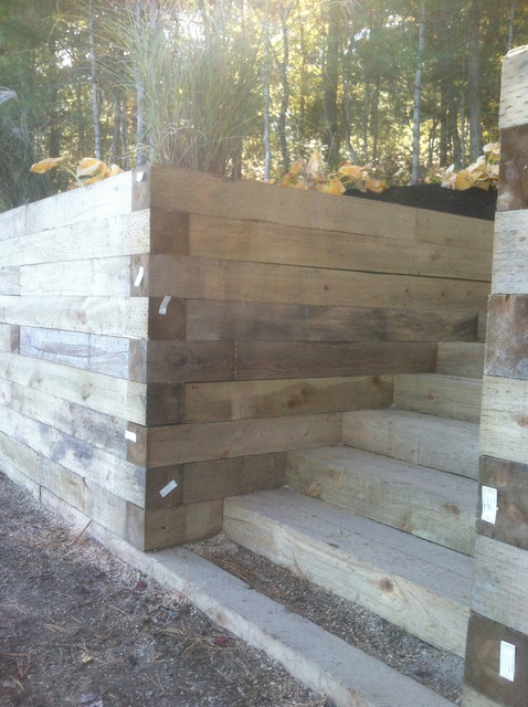 Timber Retaining Wall Stairs New Sod Traditional