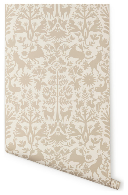 Otomi Wallpaper, Almost White/Taupe eclectic-wallpaper