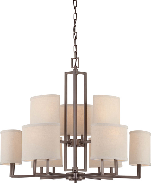 Nuvo Lighting 60-4859 Gemini 9-Light Chandelier with Khaki Fabric Shades transitional-chandeliers
