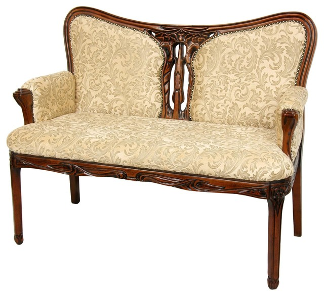 queen anne sitting room love seat beige ivy. Black Bedroom Furniture Sets. Home Design Ideas