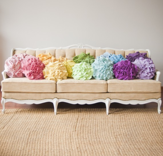 Custom Color Ruffle Rose Pillow, Small by That Funky Boutique eclectic-decorative-pillows