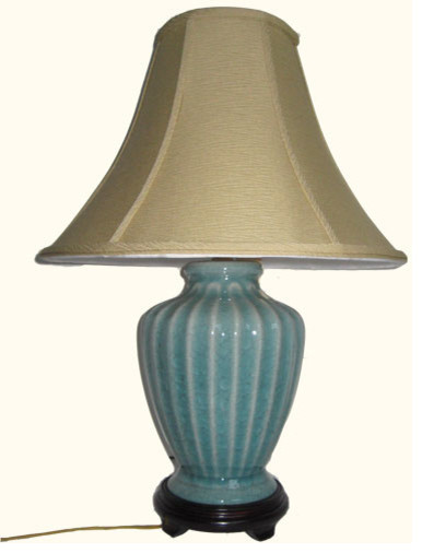 "23""H. Oriental Porcelain Fluted Table Lamp in Rich Celadon Crackle Glaze asian-table-lamps"