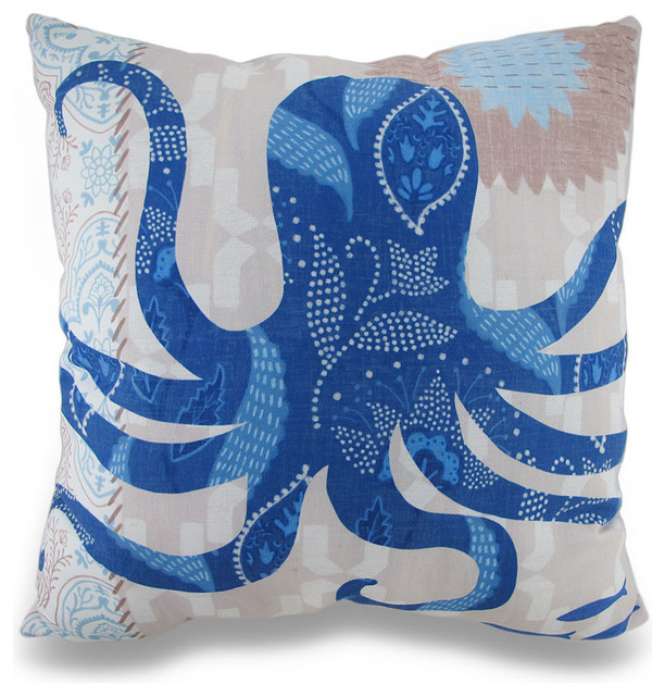 Beach Style Pillows : Barrier Reef Octopus Ocean Themed Indoor / Outdoor Throw Pillow - Beach Style - Decorative ...