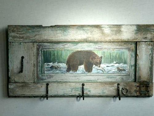 Pet Portrait Of Bear On Rustic Dog Leash Rack farmhouse-pet-supplies