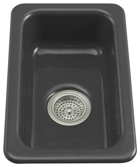 KOHLER K-6586-7 Iron/Tones Self-Rimming or Undercounter Kitchen Sink in Black traditional-kitchen-sinks
