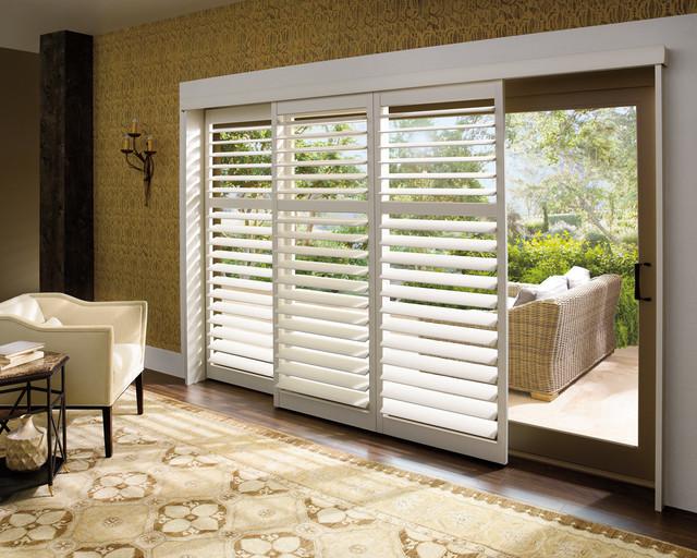 Palm Beach™ polysatin shutters with Lantana™ eclectic-window-treatments