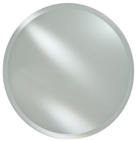 Radiance frameless round vanity wall mirror for Round bathroom wall mirrors