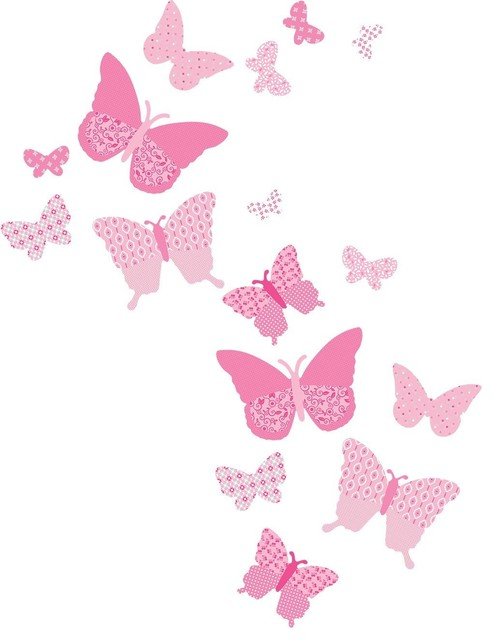 Pink Butterfly Wall Decoration : Vintage butterfly wall decals pink craftsman kids