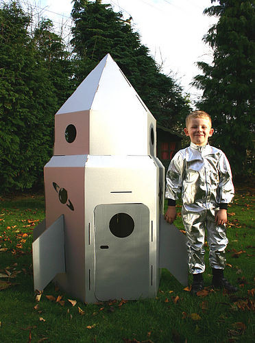 Cardboard Rocket to the Moon eclectic outdoor playsets