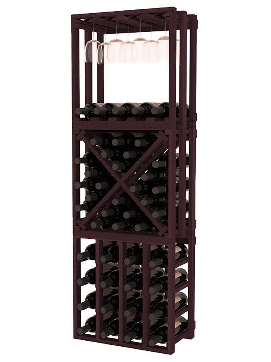 Lattice Stacking Cube - 3 Piece Set in Redwood with Burgundy Stain - Designed to stack one on top of the other for space-saving wine storage our stacking cubes are ideal for an expanding collection. This 3-piece set comes with (1) X-Cube, (1) Stemware Cube and (1) 4 Column Cubicle. Use as a stand alone rack in your kitchen or living space or pair with more stacking cubes as your wine collection grows.