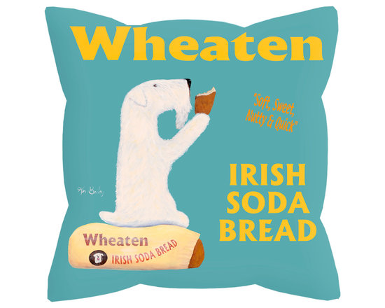 """Wheaton Soda Bread Pillow - Wheaton Soda Bread is an 18"""" x 18"""" pillow with concealed zipper and feather & down (95/5) insert. 100% Eco friendly material printed with non toxic, non fading dyes. Front 100% polyester from recycled plastic bottles. Back 65% polyester from recycled plastic bottles; 35% organic cotton. Artwork by Ken Bailey and made in USA."""