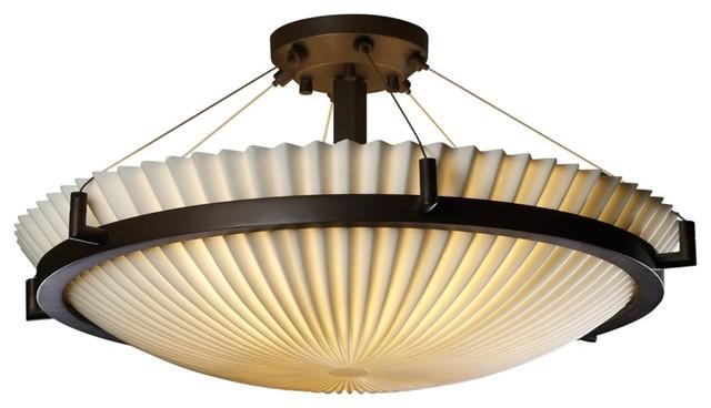 "Asian Porcelina Pleat Bronze 20 1/2"" Wide Ceiling Light Fixture modern-ceiling-lighting"