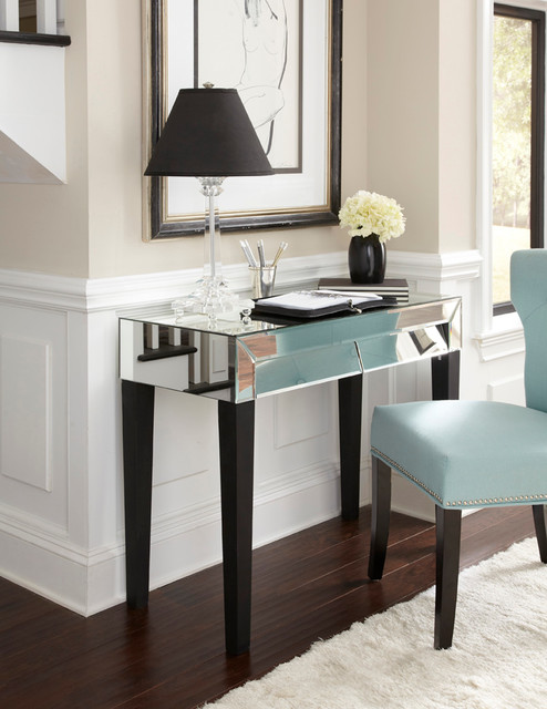 Stella Mirrored Desk Vanity - eclectic - side tables and accent